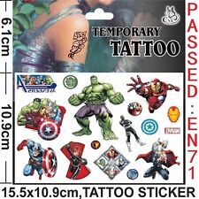 AVENGERS Cartoon Temporary Body Tattoo Childrens PARTY BAG FILLERS, EU SAFE EN71