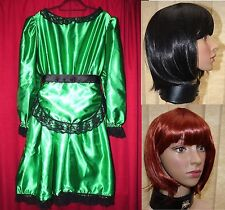 Lolly Maid heavy shiny satin sissy maids dress for TV underskirts EMERALD & wig