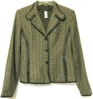 Jones New York Womens Brown Wool Blend Leather Trim Blazer Size 6