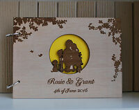 wood wedding guest book A4 full moon, wedding guest book, personalized album