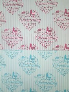 """""""On Your Christening Day """" Gift Wrapping Paper 2 Sheets + 2 tags - Blue - Pink"""