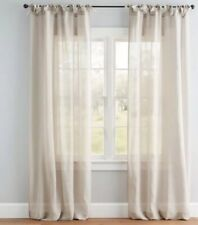 "NEW Set Of 2 Pottery Barn Belgian Flax Linen Sheer Curtains Drape 50"" x96"" Flax"