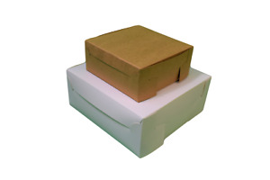 Cake boxes Multi Size Flat folding - thick cardboard boxes - White and brown
