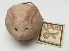 Kugels Carved Folk Art Bunny Rabbit Ball Ornament Morgan Fairchild Estate Find