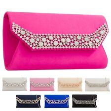 Ladies Satin Diamante Envelope Clutch Bag Evening Bag Party Handbag KTL2242
