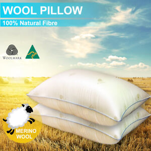 2xAus Made Natural Wool Pillow-Feather/Down/Latex/Memory Altern - Anti-Mite
