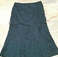 Embroidered faux suede vintage green skirt circa 1970's 14-33