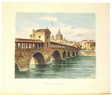 Stampa antica grande PAVIA Ponte coperto sul Ticino 1950 Old antique print