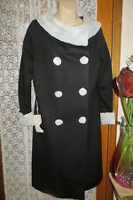 VINTAGE 50'S ~ TRU POISE FASHIONS ~ Black/Faux Fur Trims  COAT * Sz 12 * NWT!!