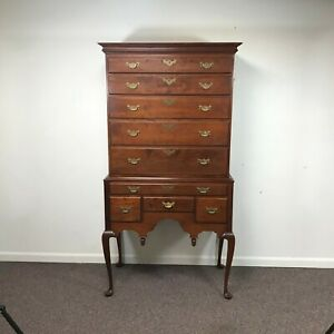 Eldred Wheeler Queen Anne 2 Part Cherry Highboy Dresser