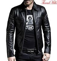 Men's Classic Collar Leather Jacket Biker Motorcycle Style Leather Jacket Coat