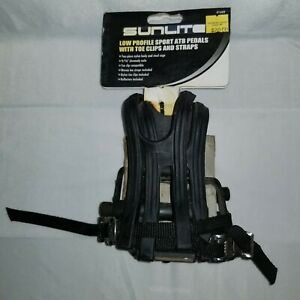 Bicycle Pedal Sunlite Low Profile Alloy ATB w/ Toe Clip 9/16 Pair