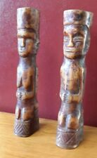 ancien couple africain dignitaire lega os Rdc agenouillée mains jointes H 13,7cm