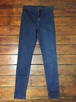Moto Topshop Joni Skinny Jeans Blue High Waist Sz 10 W28  L28 Petite Defect Zk39
