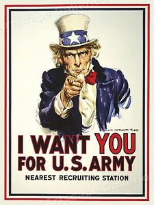 """Uncle Sam  """"I Want You"""" 1917 World War I Recruiting Poster - 18x24"""