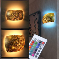 RGB LED Glass Wall Lamp Antique Style Living Room Remote Control Dimmer Light