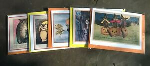 Pack of 5 assorted owl themed Halloween cards, vintage style, pagan, witch, cat