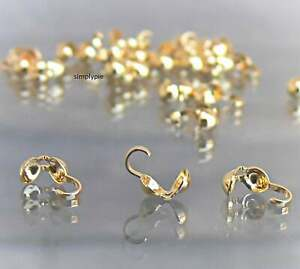 Gold Plated Bead Tips 8x3.5mm 100 Pcs Clam Shell Brass Based Findings