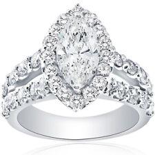 G-Si 2 1/2 Ct маркиза бриллиант Halo сплит хвостовик обручальное кольцо 14k белое золото