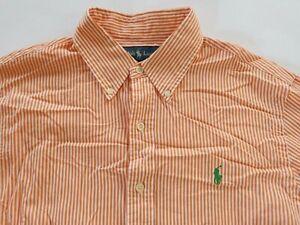Polo Ralph Lauren Mens Slim Fit LS Button Up Orange White Striped Dress Shirt M