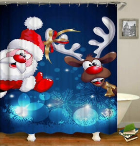 "Merry Christmas Shower Curtain Santa Claus Bathroom Decor Waterproof 48""x72"""