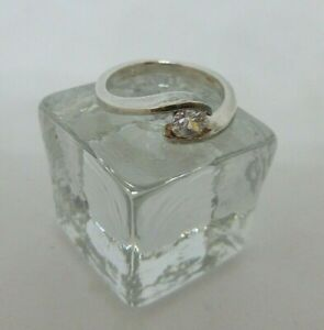 Sterling Silver 925 Ring With Clear Stone Size 0 (#103)