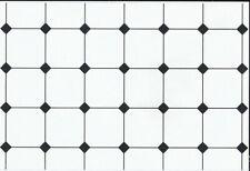 Black & White Floor Tile Paper, Dolls House Miniature Flooring