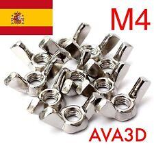6 Unidades Tuercas Mariposa M4 DIN 315 Inox Reprap 3D Prusa Mendel Rostock Steel