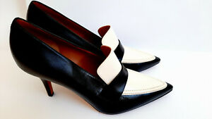 CELINE Authentic Leather Black and White Heels Size 39.5 EU 8.5 US Made in Italy