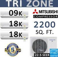 45000 BTU Tri Zone Ductless Mini Split Air Conditioner : 9k + 18k + 18k