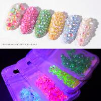 Nail Art Luminous Rhinestones Glitter Crystal Gems Nail Decor Manicure DIY Tips