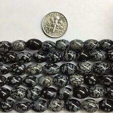 "Snow Flake Obsidian 8x10mm Oval Barrel Gemstone Beads 15.5 "" for Jewelry Making"