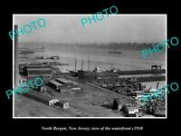 OLD LARGE HISTORIC PHOTO OF NORTH BERGEN NEW JERSEY, VIEW OF THE WATERFRONT 1930