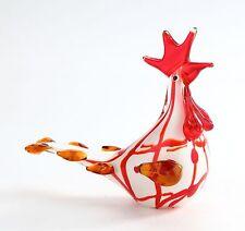 """New 10"""" Hand Blown Art Glass Chicken Rooster Bird Figurine Sculpture Red White"""