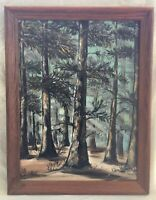 Vtg Mid-Century Framed Original Oil Painting - Trees/Forest, Signed Plevna Wynn