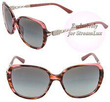 BVLGARI Sunglasses BV 8112 5234/11 Square Pink Havana Silver with Crystals