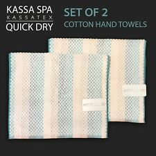 2PC KASSA SPA by Kassatex QUICK DRY Hand Towels Textured Pastel Stripe Turq Trim