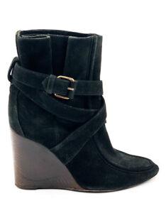 BALENCIAGA Black Suede Wedge Heel Boots - Eu 37 - US 7