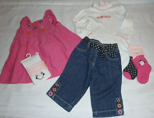 Gymboree Polka Dot Penguin 3-6 Month Dress Bodysuit Tights Socks Jeans Set New