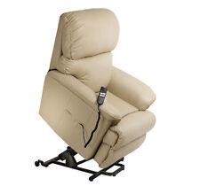 Canterbury Dual Motor Leather Electric Riser Recliner Chair Cream