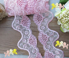 Pink Scalloped Embroidered Tulle Lace Trim 7.5cm wide By the metre So Beautiful