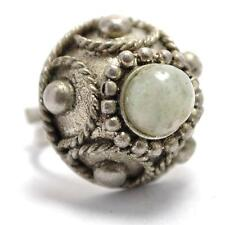 T12F10 Vintage Victorian Style Dome Beaded Silver Ring Size Adjustable 5.5-11