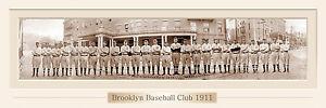 VINTAGE BROOKLYN BASEBALL CLUB 1911 PANORAMIC PRINT 11.75 X 36 W/DOUBLE FAUX MAT