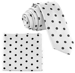 "New Men's Poly Woven 2.5"" Skinny Slim Necktie & Hankie Polka Dots White / Black"