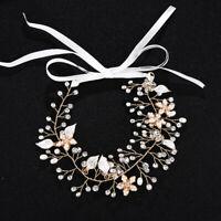 Crystal Flower Bridal Headband Pearl Hair Vine Tiara Hairband Wedding Headdress