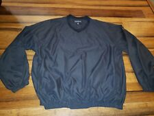 Footjoy Dryjoys Mens Xl solid Black Pullover Wind Golf Jacket w/ pockets