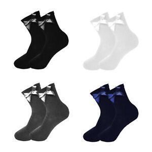 Girls Ankle Bow Socks Lycra Long School Black Grey Navy White 1 2 3 6 Pairs