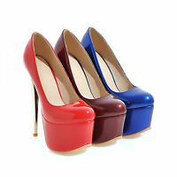 Womens Club Shoes Shiny Synthetic Leather Platform High Heels Pumps US Size S077