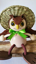 HANDMADE WOODEN BOUNCY PUPPET OWL SPRINGY DECORATION TOY MOBILE