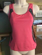 Womens GoLite Built In Bra Workout Tank Top-Pink/Gray-Size M-Zipper Pocket-